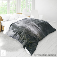 Forest Duvet Cover | Forest Bed Linen | Wanderlust Bedroom Decor | Foggy Forest | Forest Photo | Bobo Home Decor | Nature Photography | Gift