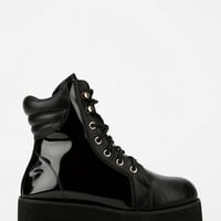 Urban Outfitters - Y.R.U. Raze Patent Panel Lace-Up Flatform-Boot