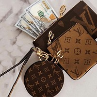 LV Louis Vuitton Classic Printed Letter Three-piece Key Case Small Wallet