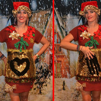 Medium, color changing sequins, write on it to make your own design, Party Sweater, Ugly Christmas Sweater Dress, one of a kind