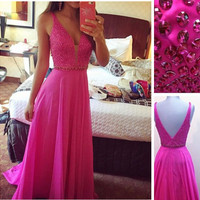 V-neck Beading Elegant Red Prom Dress