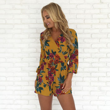 Passion Fruit Floral Romper in Mustard
