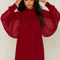 Nasty Gal Winnie Bell Sleeve Dress - Red