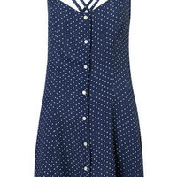 Spot Strappy Button Sundress - Fit & Flare Dresses - Dresses - Clothing - Topshop