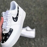 Nike x Louis Vuitton LV white shoes casual trend board shoes men and women air force one shoes-7