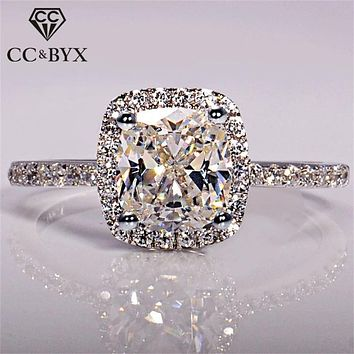 925 Sterling Silver Rings For Women Bridal Wedding Anelli Trendy Jewellery Engagement White Gold Color