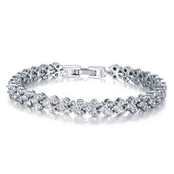 Silver Plated Roman Zircon Full Rhinestone Chain Bracelet For Women