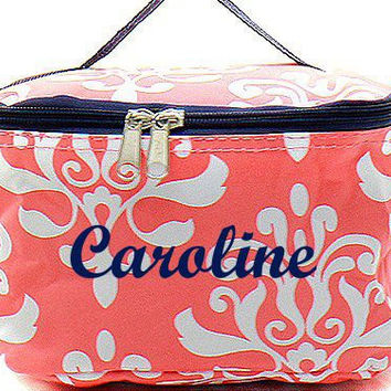 Monogrammed Cosmetic Bag Coral and White Damask Cosmetic Bag Monogrammed Makeup Bag