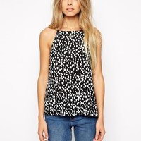 ASOS High Neck Cami Top In Spot Print
