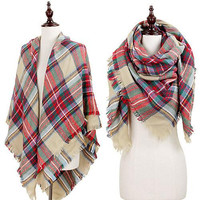 Oversized Plaid Blanket Scarf - Beige, Red, and Green