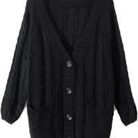 ROMWE | Chunky Cable Knit Black Cardigan, The Latest Street Fashion