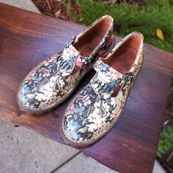 Vintage Floral Women's Doc Martens Mary Janes UK 5 US Size 7.5 or 8, 1990s Rare Doc Marten Mary Janes, Classic Grunge Boots Shoes