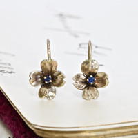 Antique Dogwood Blossom Earrings, 14k Yellow Gold & Sapphire, Upcycled Edwardian Elements, Summer Bride Bridal Festival Jewelry, Anniversary
