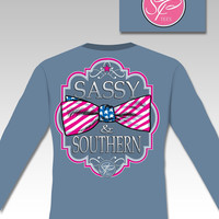 Sassy Frass Comfort Colors Sassy & Southern USA Flag Bow Long Sleeve Girlie Bright T Shirt