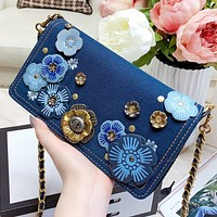 Hipgirls COACH New fashion floral chain shoulder bag crossbody bag women Blue