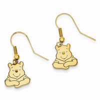 Sterling Silver Or Yellow Gold Plated Disney Winnie The Pooh Dangle Wire Earring