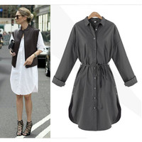 Women Long Sleeve Casual Office Blouse Dress Button Down Casual Solid Empire Dress