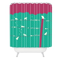 Belle13 Lollipop Cats And Birds On Wires Shower Curtain