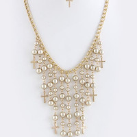GOLD CROSS AND BALL FRINGE NECKLACE SET
