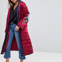 Glamorous Premium Wrap Jacket In Quilted Satin With Floral Embroidery at asos.com