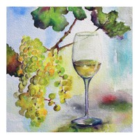 Chardonnay Wine Grapes and Glass Watercolor Wood Wall Art