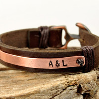 FREE SHIPPING - Men's Personalized Bracelet, Hand Stamped, Men's Leather Bracelet, Genuine Brown Leather and Copper Plate- Copper Anchor