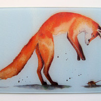 Unique Glass Chopping Board with a vibrant FOX design by artist Maria Moss 29cm x 20cm