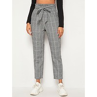 SHEIN Glen Plaid Print Paperbag Waist Self Belted Pants