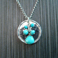 Full Moon Turquoise Dangle Disc Pendant Necklace in Sterling Silver - Light Blue Genuine Arizona Turquoise on Hammerd Disk - Nickel Free