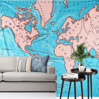 Wall Tapestries Art  World Map Tapestry