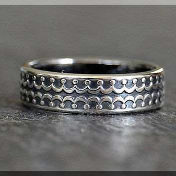 Sterling Silver Ring, Wide Sterling Silver Stacking Ring Sterling Silver Wedding Ring, Mens Sterling Silver Wedding Band, Holding Hands Ring