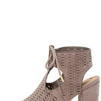Traveling Show Taupe Suede Perforated Booties
