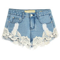 Light Blue Openwork Crochet Lace Stitching Hole Denim Shorts Plus Size
