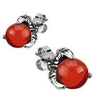 Spikes Mens 316L Surgical Stainless Steel Dragon Claw Amber Stud Earring