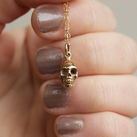 Skull necklace - bronze skull charm  . 3D skull . 14k gold-filled chain . skull jewelry . gothic . Halloween charm jewelry