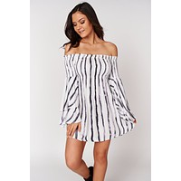 Free Yourself Off The Shoulder Dress (White/Multi)