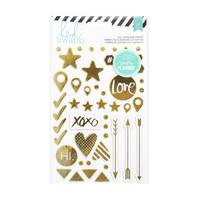 Heidi Swapp: 50-Piece Metallic Gold Foil Chipboard Sticker Shapes - for Hello Beautiful Memory Planner