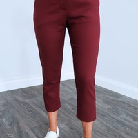 On The Edge Pants: Maroon
