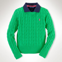 CABLED COTTON SWEATER