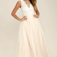 Could Have Danced All Night Light Beige Maxi Dress