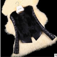 S/3Xl Women Black Casual Man-Made Fur Jacket Pu Leather Stitching Short Section Faux Fur Coat Large Size Clothes Tops Jacket C13
