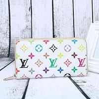 LV Women Leather Print Multicolor Wallet Purse