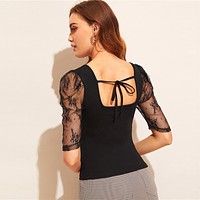 Lace Puff Sleeve Tie Back Top Black Stretchy Women Clothes Tee Slim Fit Half Puff Sleeve Tshirt