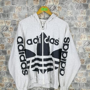 ADIDAS RUN DMC Sweatshirt Medium Vintage 90's Adidas Trefoil Big Logo Gray Hip Hop Adidas Sportswear Zipper Sweater Jacket Size M