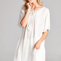 Apparel- Courtney White Tunic with Pockets and Drawstring Top-