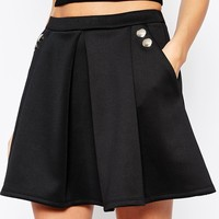ASOS Skater Skirt With Button Side Detail