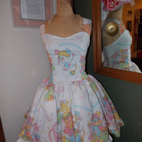 Custom Made to order Popples Geekery Pin Up Sweet Heart Halter Ruffled Mini Dress