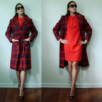Vintage Timeless 1960s Pendleton Wool RED Plaid Long Trench Coat Small