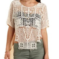 Crochet & Knit High-Low Tee by Charlotte Russe - Oatmeal