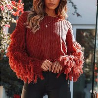 Winter Sweaters Women Vintage Loose Tassel Sweater for Women Female O Neck Long Sleeve Pullover Knitwear Sweater
